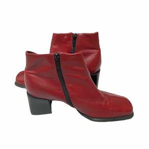 Vintage Pesaro Red Square Toe Heeled Booties Sz 8